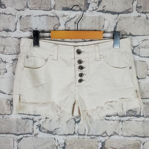 Free People Jean Short Button Fly Cream Size 24